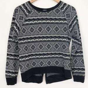 One Clothing black and white aztec print shirt M